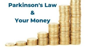 What is Parkinson's law anyhow it can improve your finances. Spending expands so as to consume the money available. Learn how to use behaviour hacks to your advantage to make it easy to save money. #handfulfothoughts #parkinsonslaw #easytosave #improveyourfinances