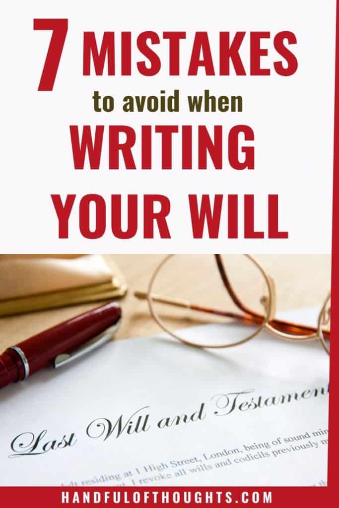 7 Mistakes to avoid when creating a will - Pinterest pin