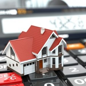 Calculator in background with house sitting on top of it. Why and How we Started Investing in Real Estate featured image.